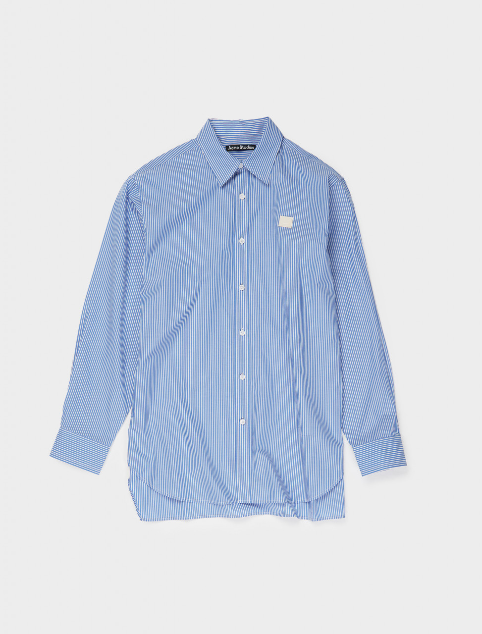 110-CB0021-AF2 ACNE STUDIOS FACE PATCH STRIPED SHIRT BLUE N WHITE