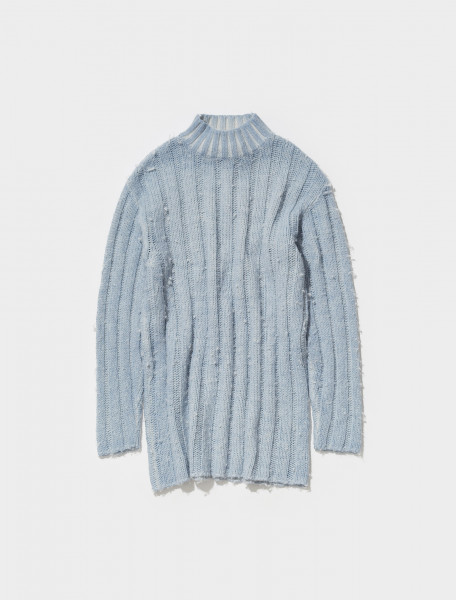 M4213FIB OUR LEGACY FUNNEL NECK KNIT IN ICE BLUE ACRYLIC