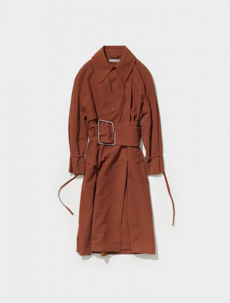 A90364 BZH FN WN OUTW000534 ACNE STUDIOS OJOPA TEXT TRENCH COAT IN WALNUT BROWN