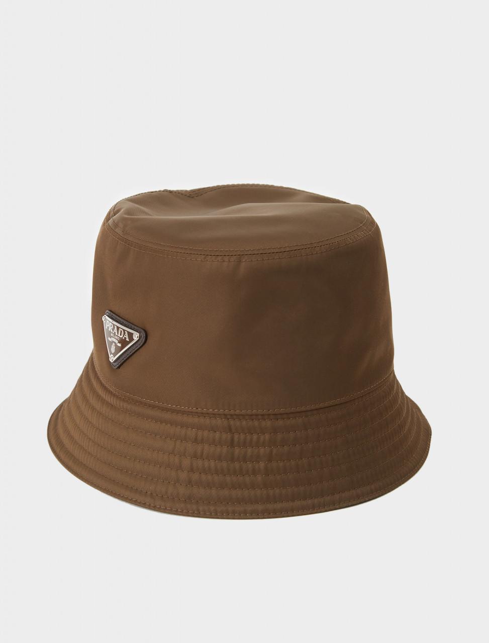 242-2HC137-2B15-F0038 PRADA NYLON BUCKET HAT IN BRUCIATO