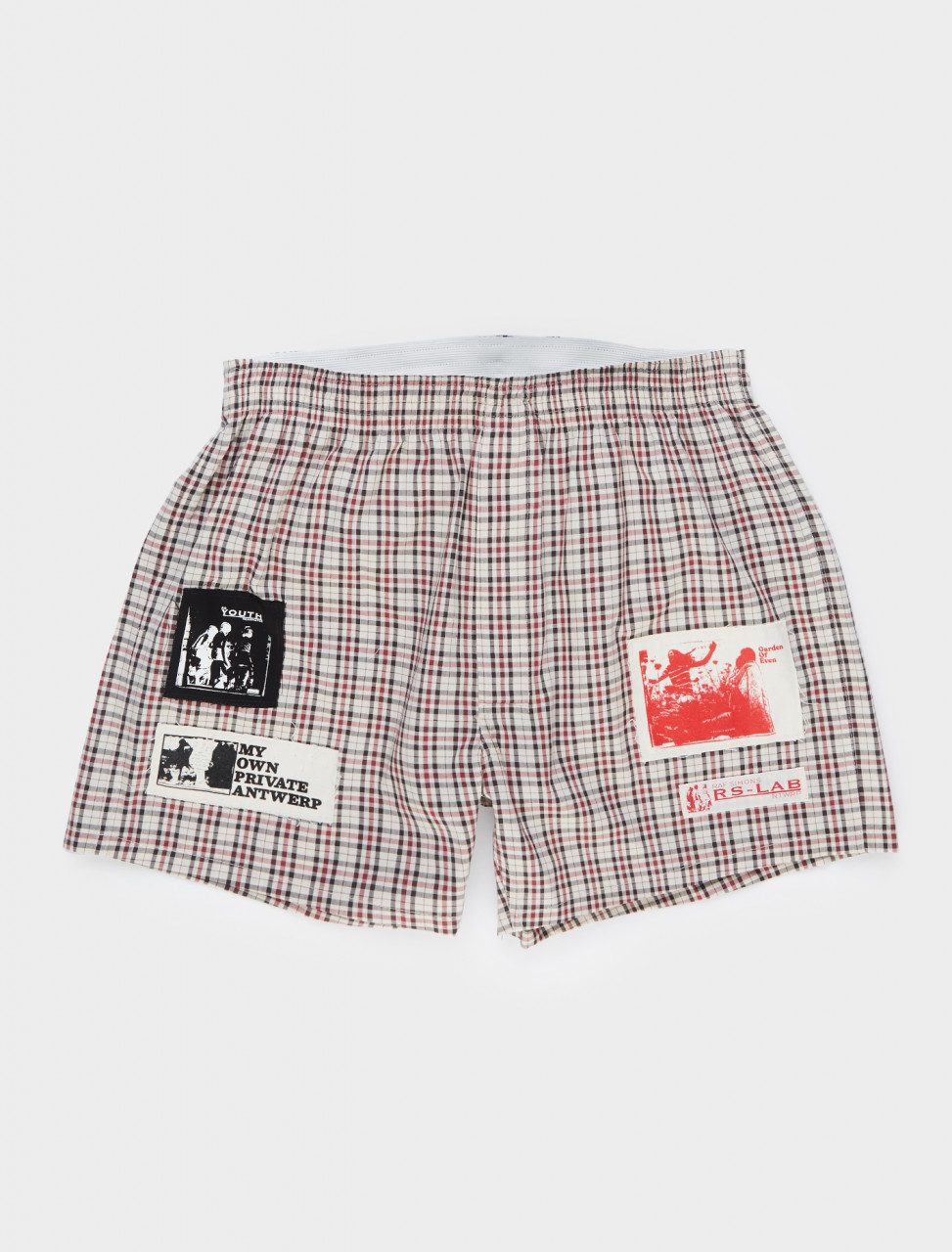 Raf Simons Boxershorts with Patches in Off-White and Black Front