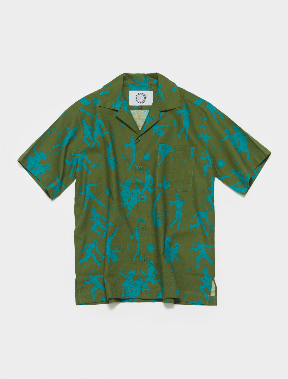 SS21ST01 CARNE BOLLENTE THE SIGHING GAME SHIRT IN OLIVE GREEN