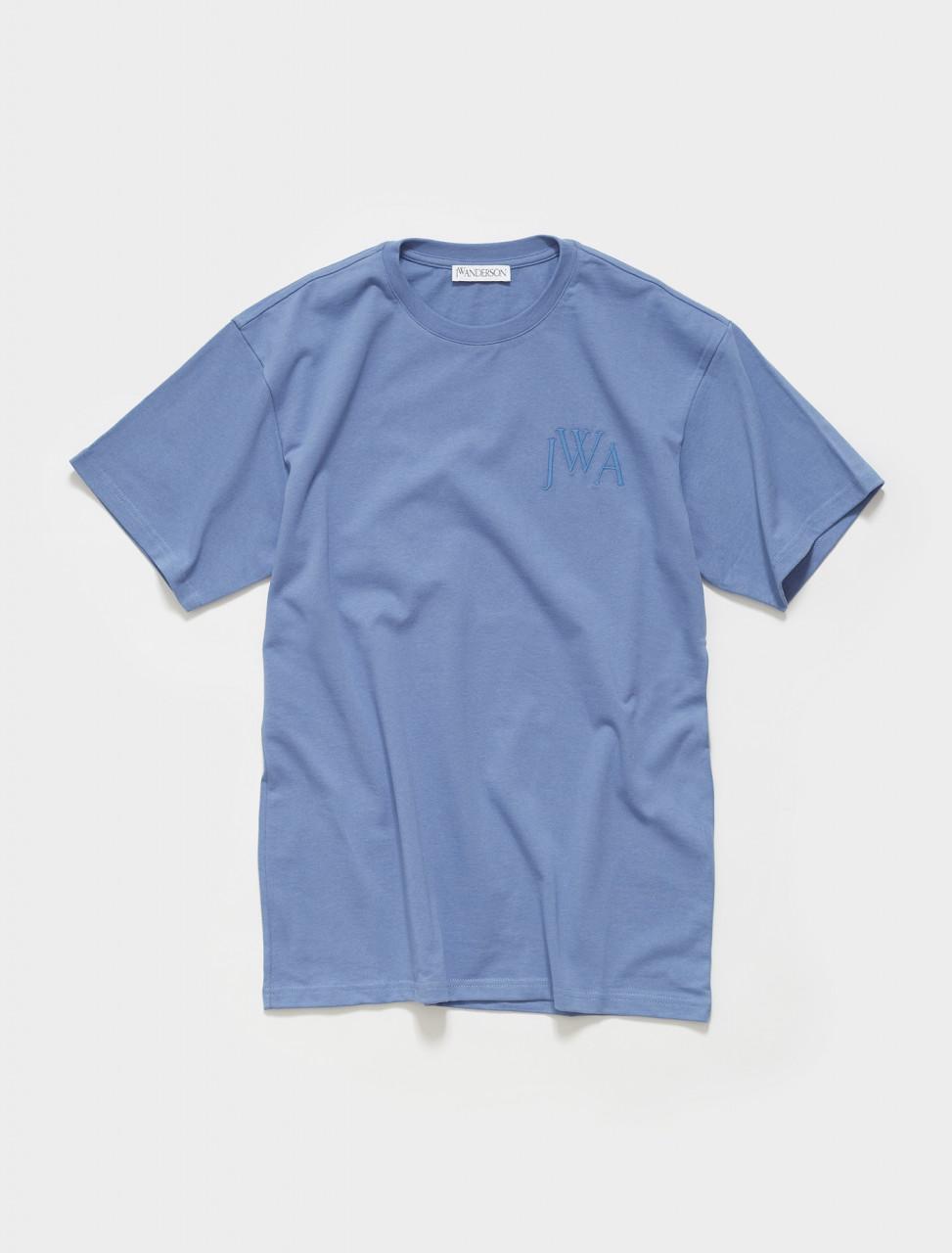 179-JE0034-PG0079-603 JW ANDERSON JWA LOGO EMBROLDERED T SHIRT IN DENIM BLUE