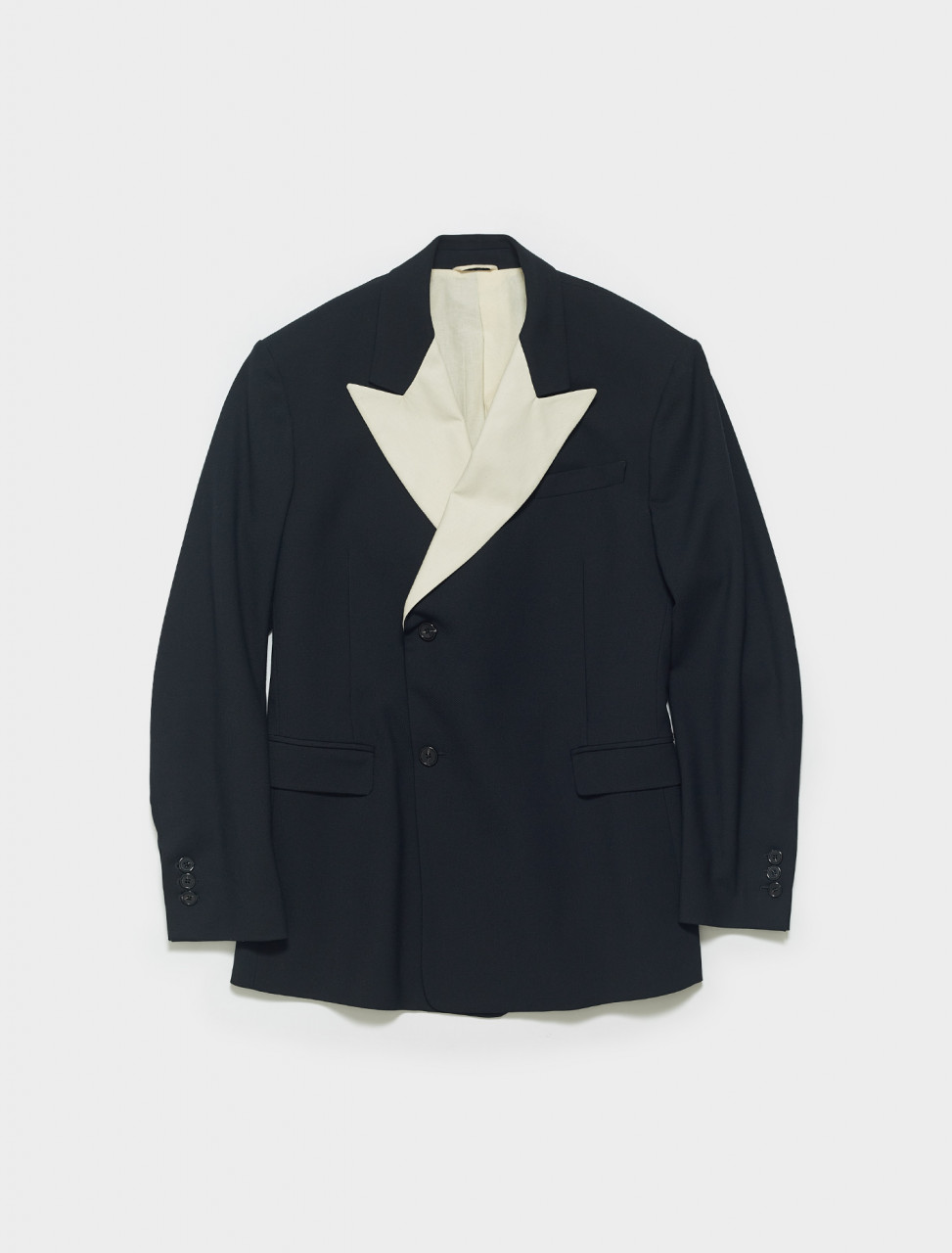 201-527-25020-09913 RAF SIMONS DOUBLE BREASTED BLAZER WITH SHARP LAPEL