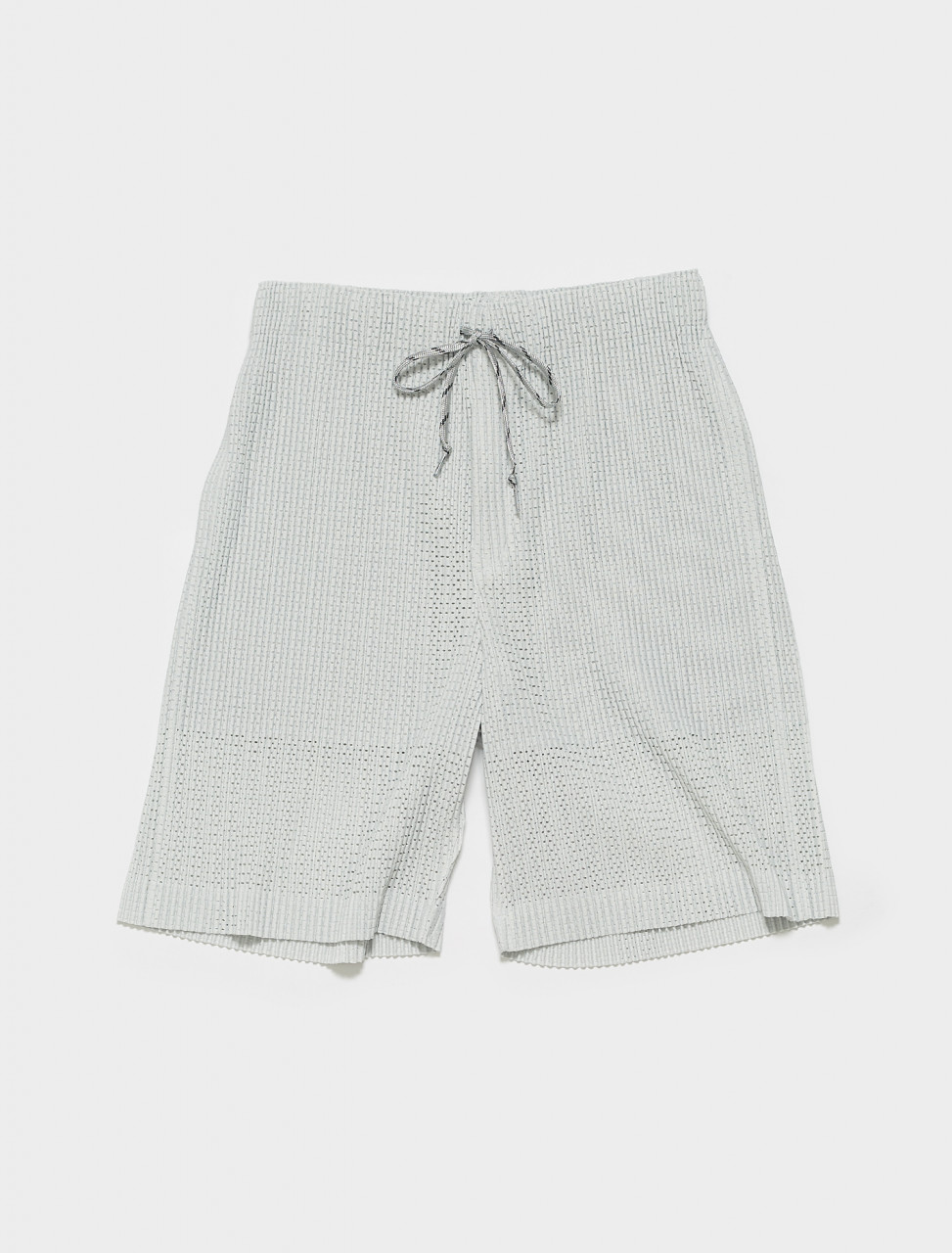 HP16JF142-90 HOMME PLISSE ISSEY MIYAKE PLEATED SHORTS SILVER GREEN
