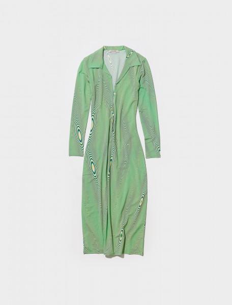 PJN034_521 PALOMA WOOL GAMMA LONG SLEEVED DRESS IN INTENSE GREEN