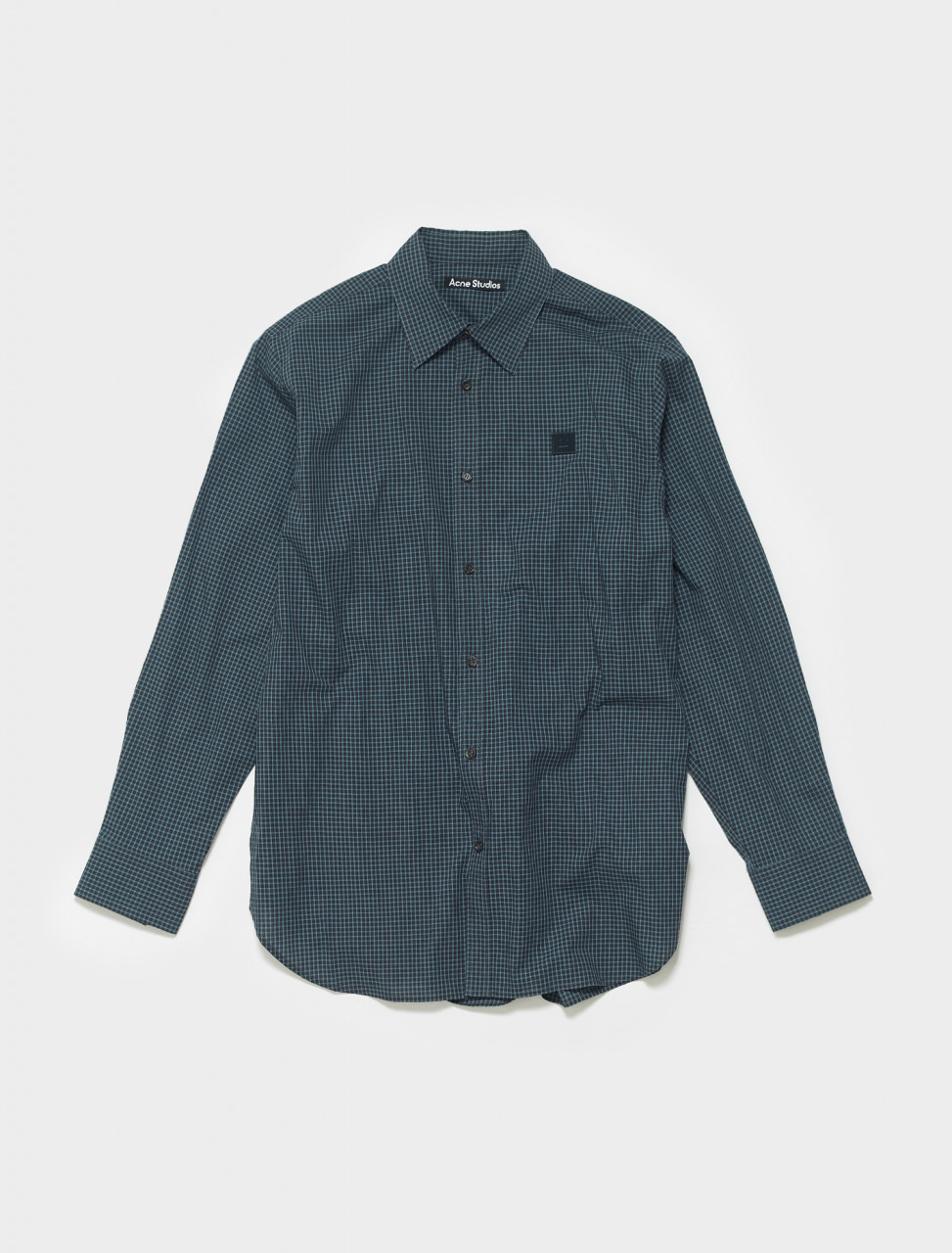 110-CB0018-885 ACNE STUDIOS FACE PATCH CHECK SHIRT NAVY BLUE