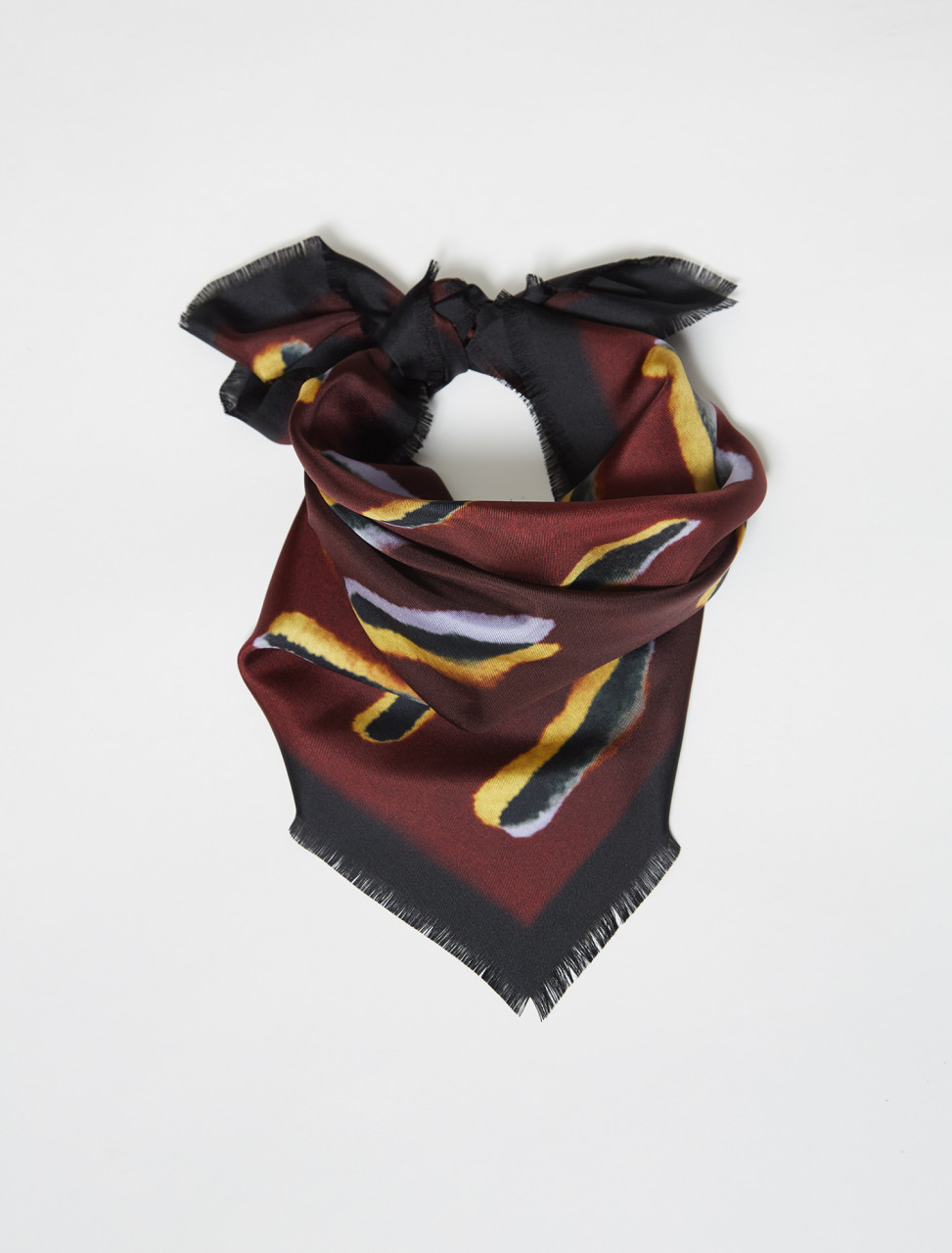 211-21310-004-358 DRIES VAN NOTEN LEN LYE PRINT SCARF IN BURGUNDY
