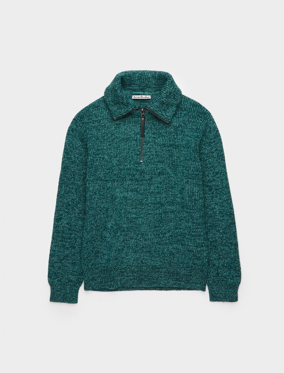 110-B60142-BLC ACNE STUDIOS HALF-ZIP RIBBED SWEATER IN FOREST GREEN