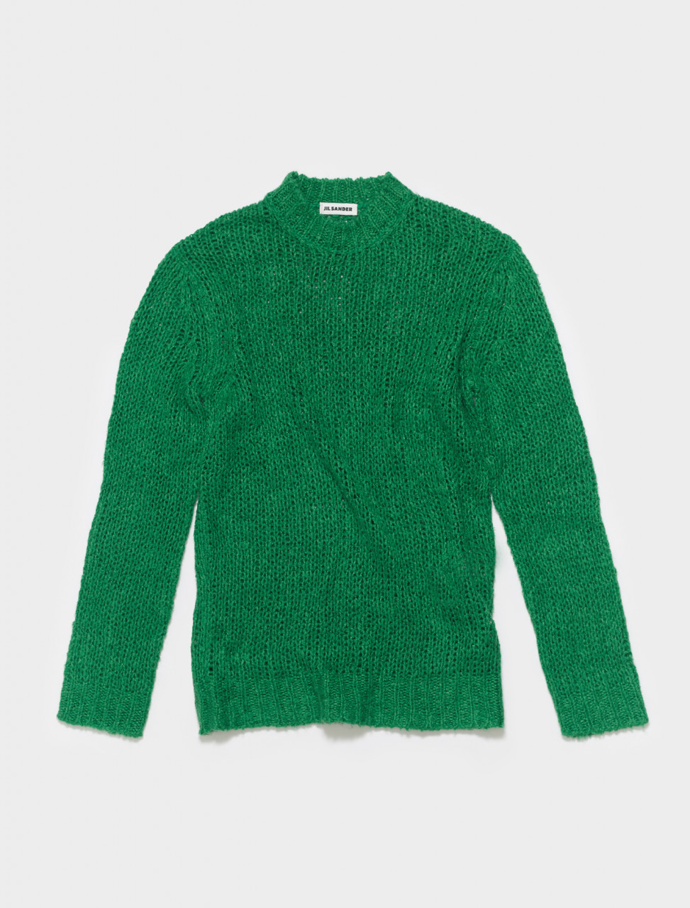 JSMS751042-MSY32008-314 JIL SANDER CHUNKY TEXTURED KNIT SWEATER IN MEDIUM GREEN
