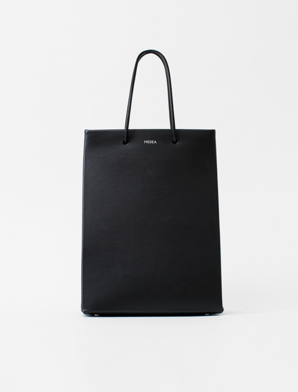 Tall Leather Tote in Black