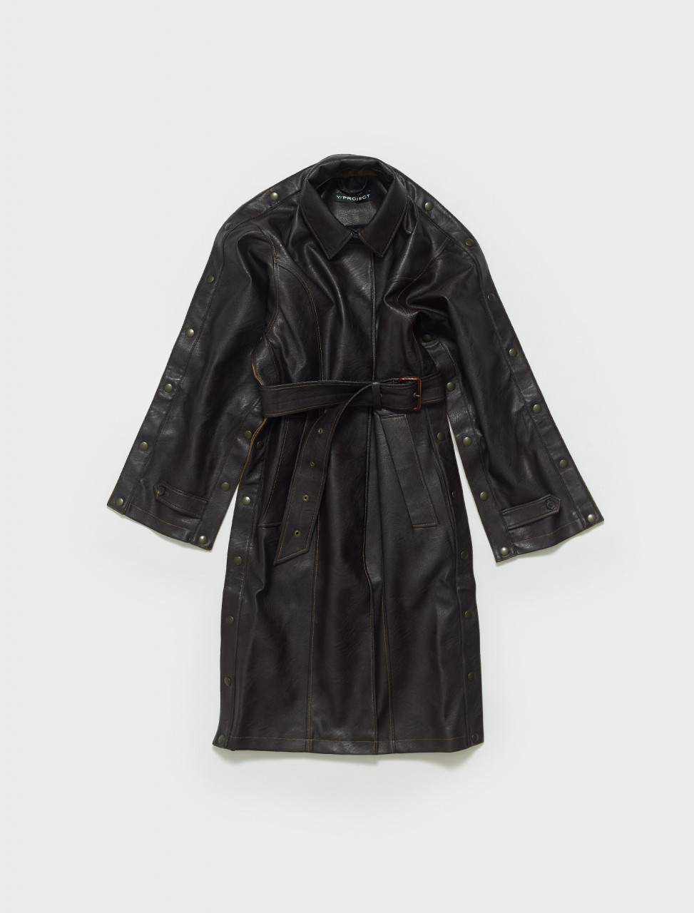 WCOAT29-S20 Y PROJECT SNAP TRENCH COAT IN DARK BROWN