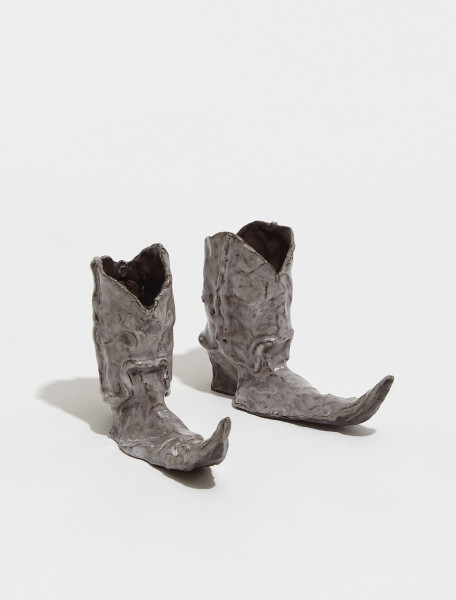 BOOTS-GREY Hot Legs Cowboy Boot Candle Holders in Grey