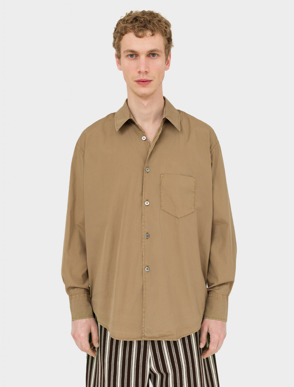 Front view of Our Legacy Coco 70s Shirt in Steelbrown Poplin