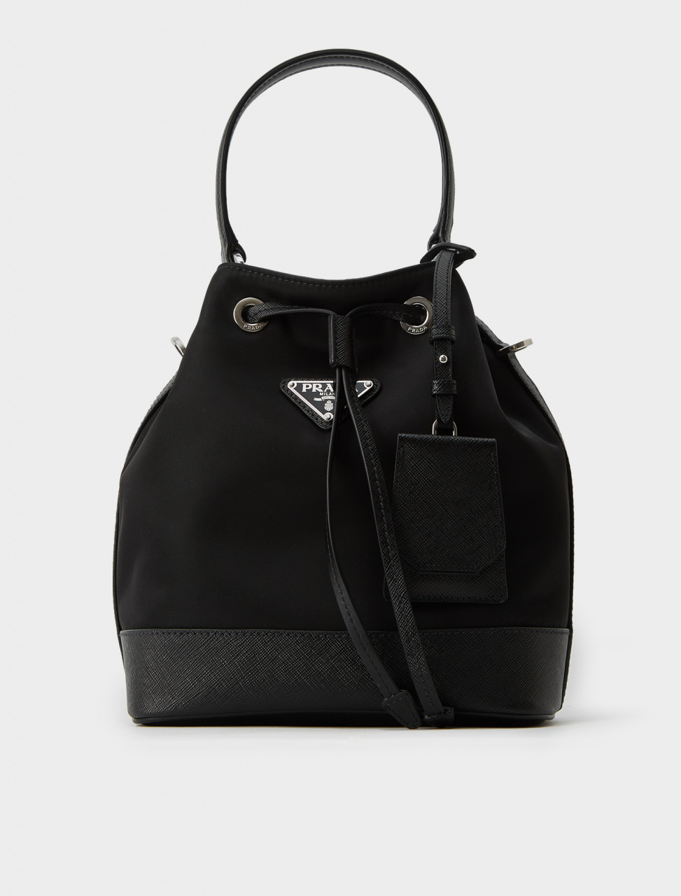 1BE055-064-F0002 Prada Nylon Bucket Bag with Leather Trim in Black