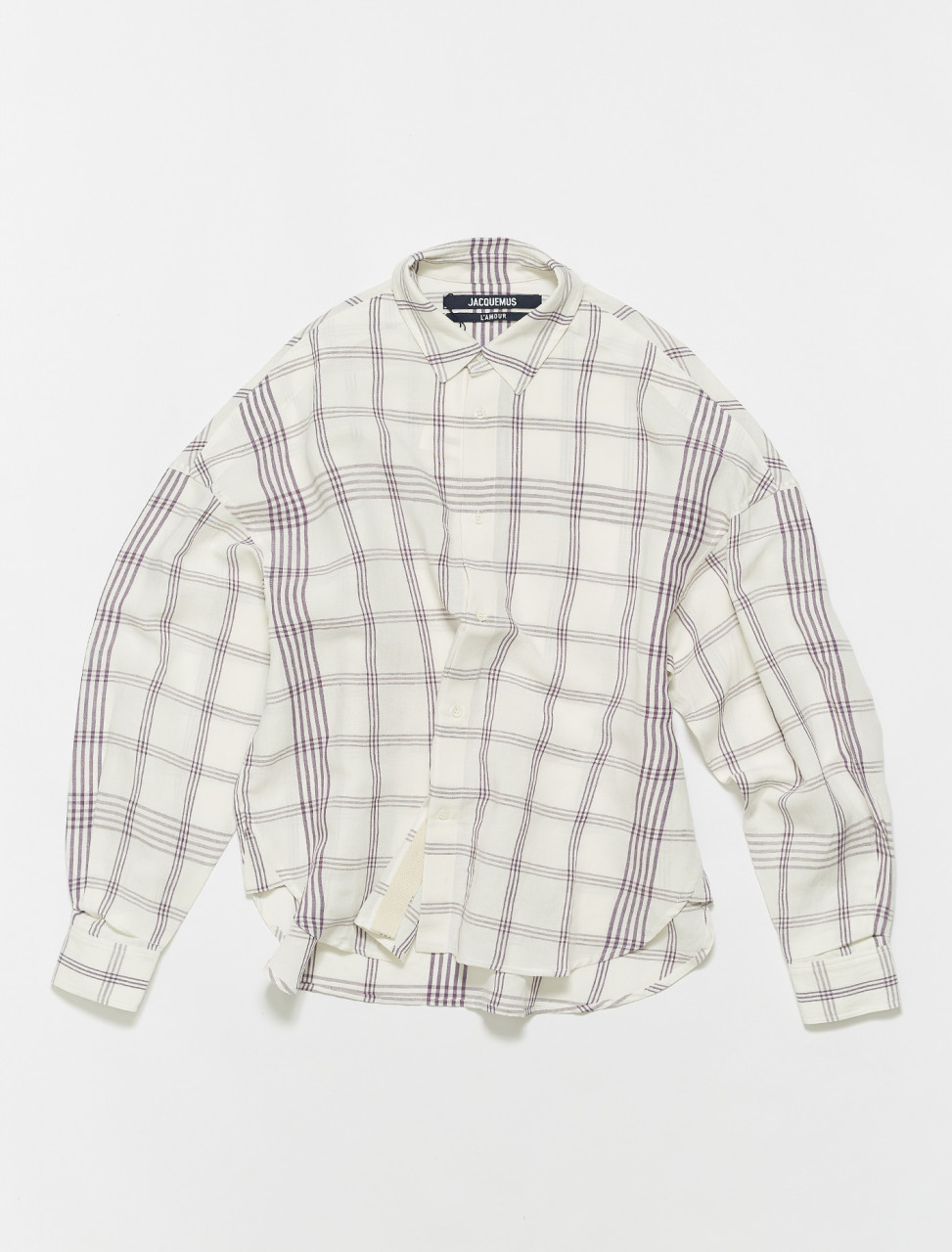 215SH05-215-125613 JACQUEMUS LA CHEMISE SANTON WHITE PURPLE CHECKS