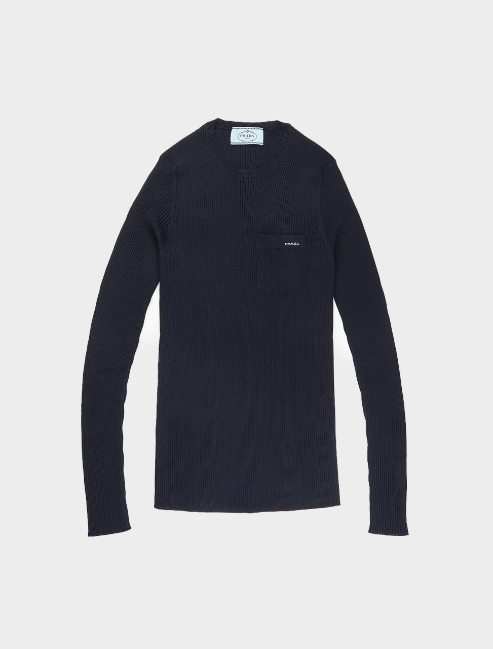 Prada Ribbed Long Sleeve Top in Blue