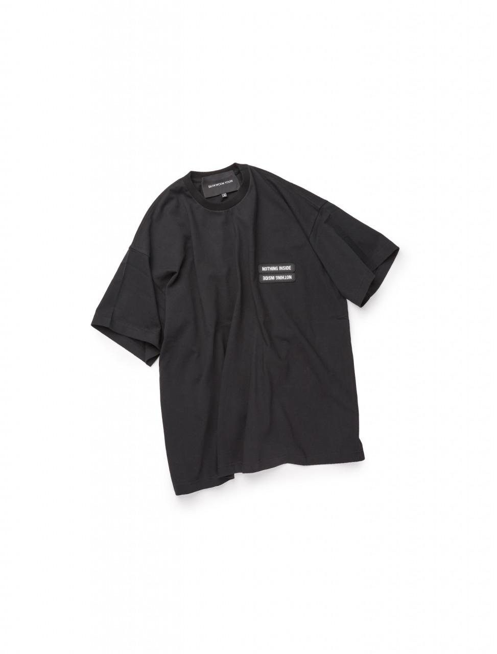 351-SWAW20-505 SEOKWOON YOON NOTHING INSIDE DOUBLE LOGO T SHIRT BLACK
