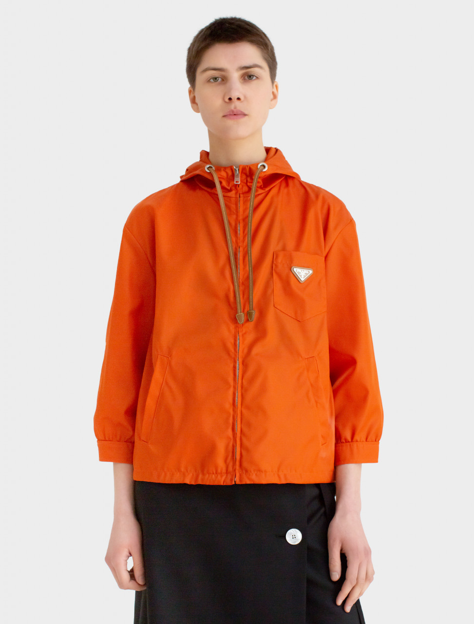Nylon Hooded Jacket in Papaya