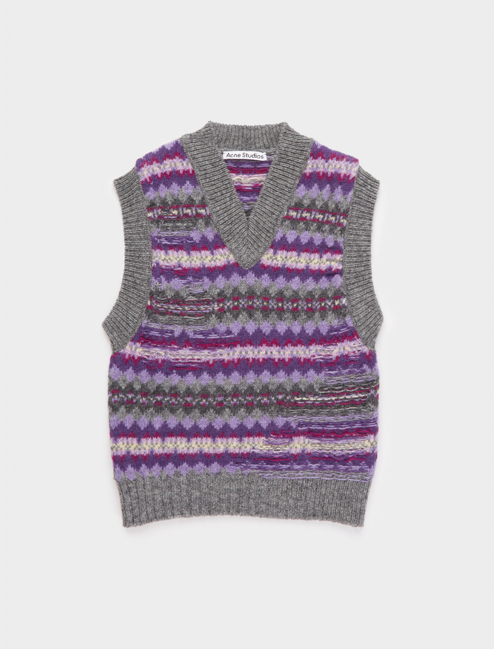 110-A60215-CFD ACNE STUDIOS Fair Isle Gilet Purple Grey