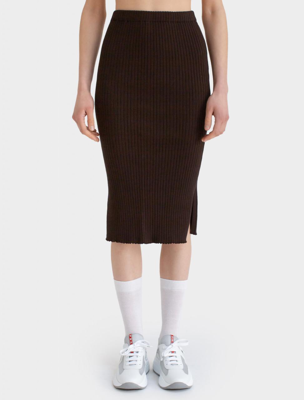 Slit Skirt in Dark Brown