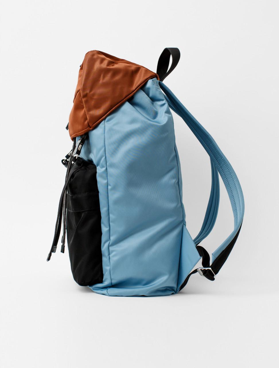 Nylon Backpack in Lake, Rust and Black