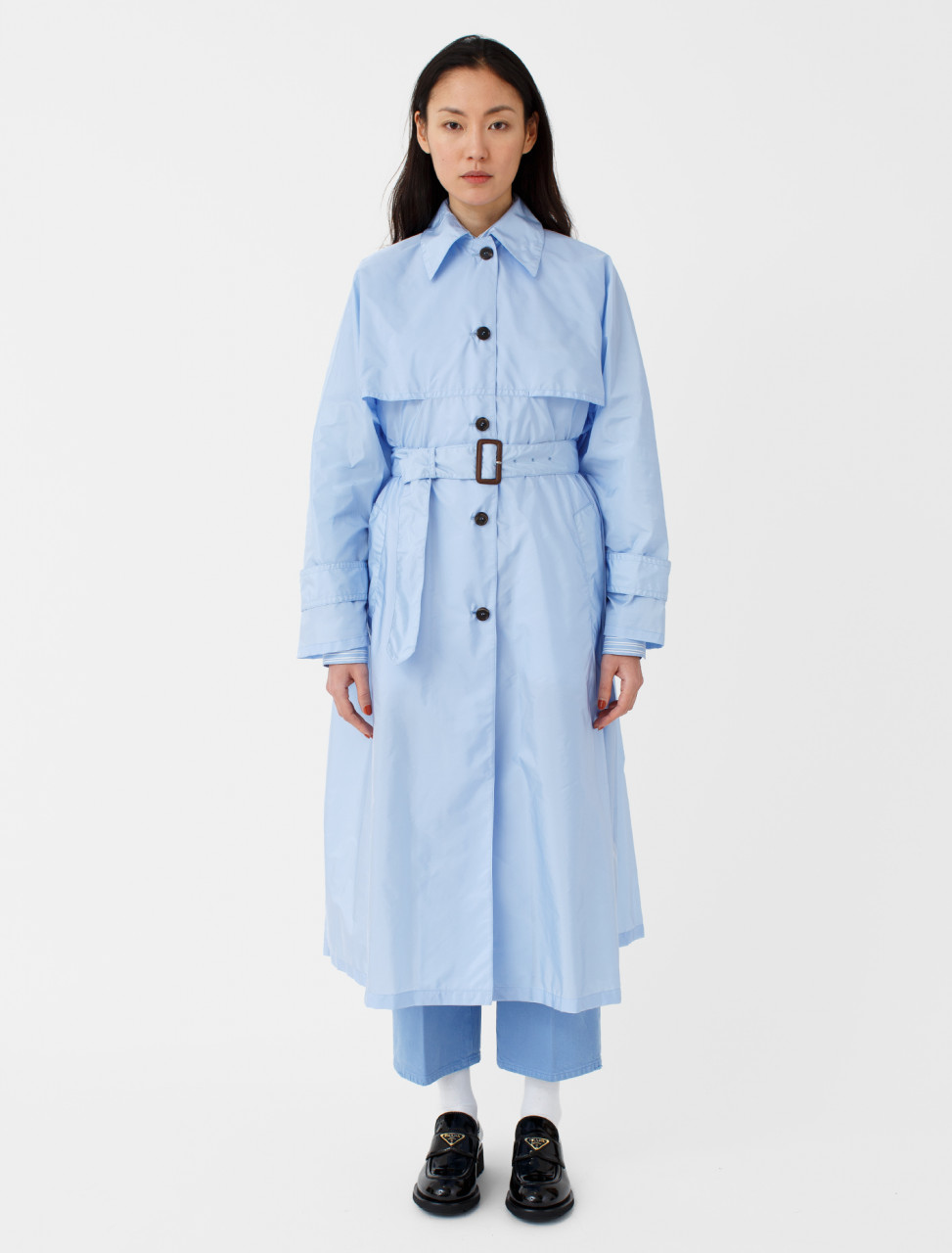 Belted Nylon Raincoat in Blue