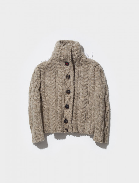 S51GP0224_S17802_119M MAISON MARGIELA CHUNKY KNITTED CARDIGAN IN CORTECCIA