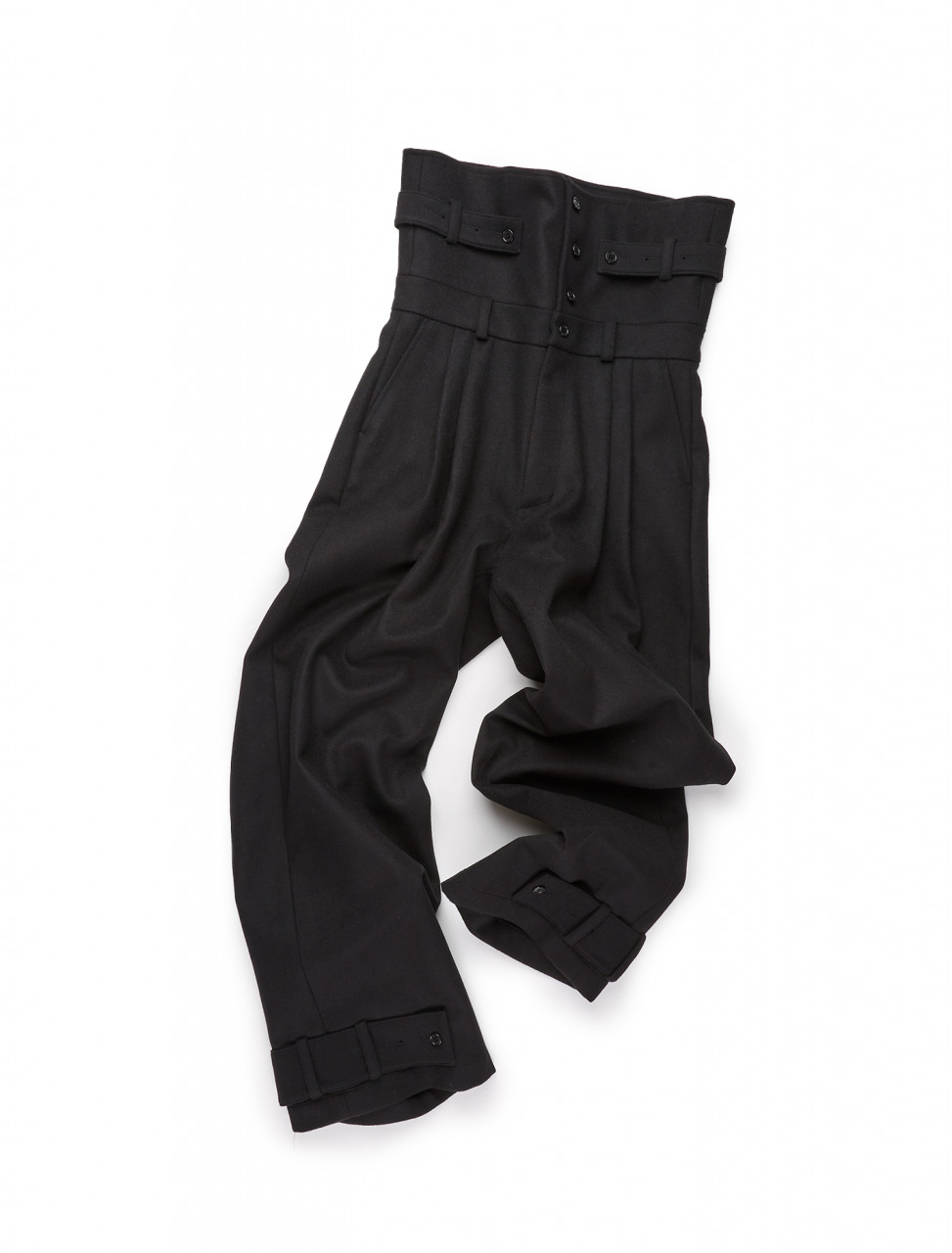 351-20XX037 MAXXIJ HIGH WAISTED FOLD PANEL TROUSERS BLACK