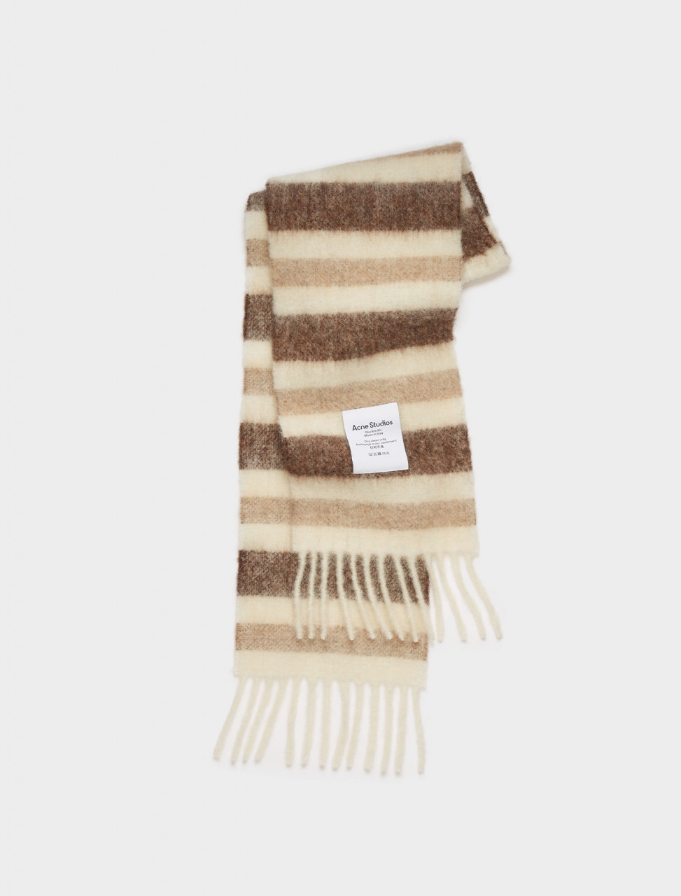 110-CA0096-CII ACNE STUDIOS STRIPED SCARF WHITE BEIGE BROWN