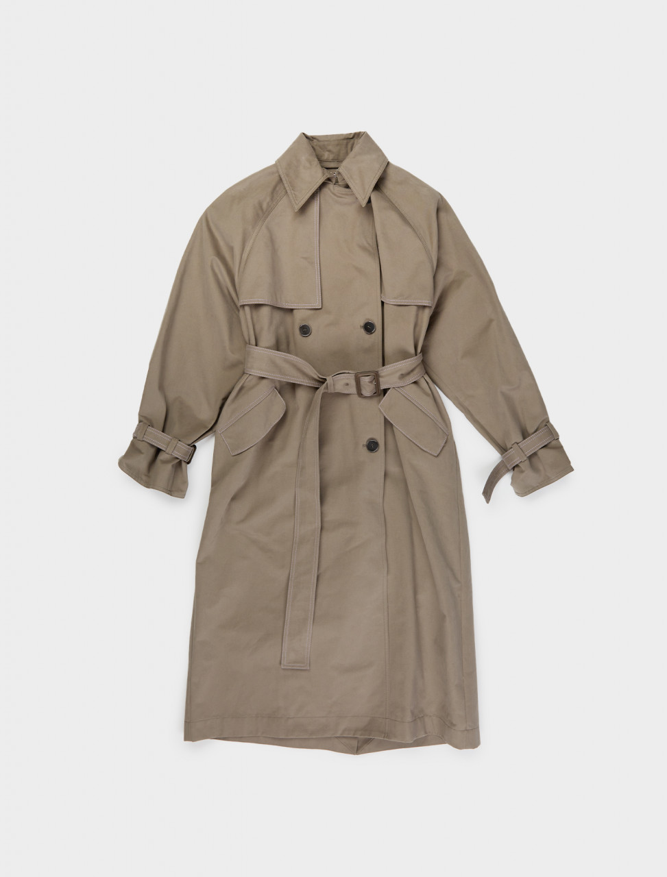 110-A90303-AA7 ACNE STUDIOS DOUBLE BREASTED TRENCH COAT IN STONE GREY