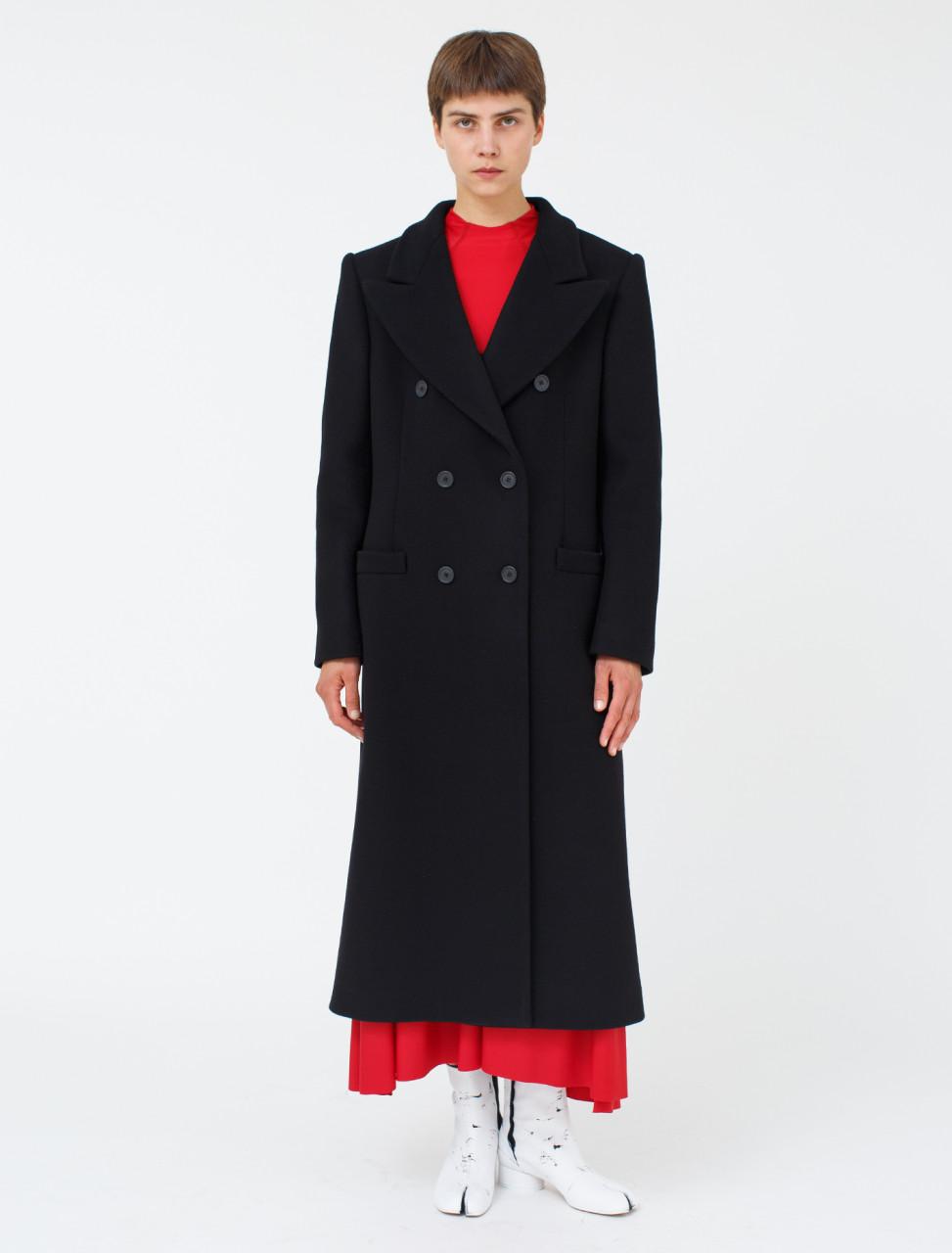 Wool Nylon Coat in Black