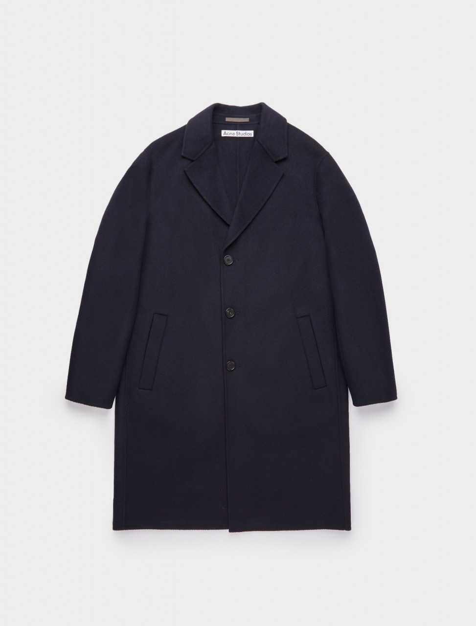 110-B90432-BG3 ACNE STUDIOS Wool Twill Overcoat in Navy