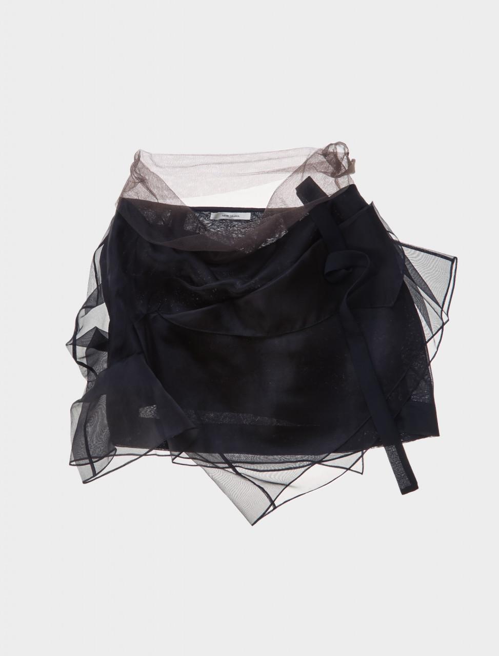 Nensi Dojaka Layered Drape Skirt in Black Front