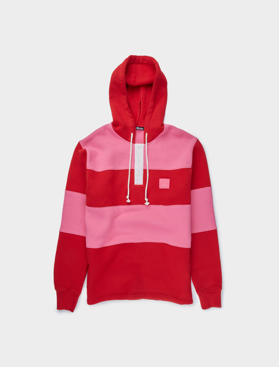 110-CI0044-AQJ ACNE STUDIOS HOODED RUGBY SWEATSHIRT CHERRY RED