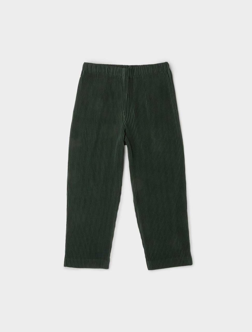 Front view of HOMME PLISSÉ Issey Miyake Cropped Pleated Trouser in Green