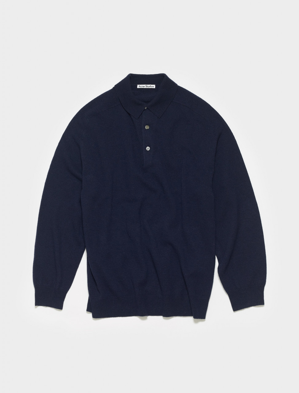 B60174-BG3 ACNE STUDIOS KOPA LONG SLEEVE POLO IN NAVY