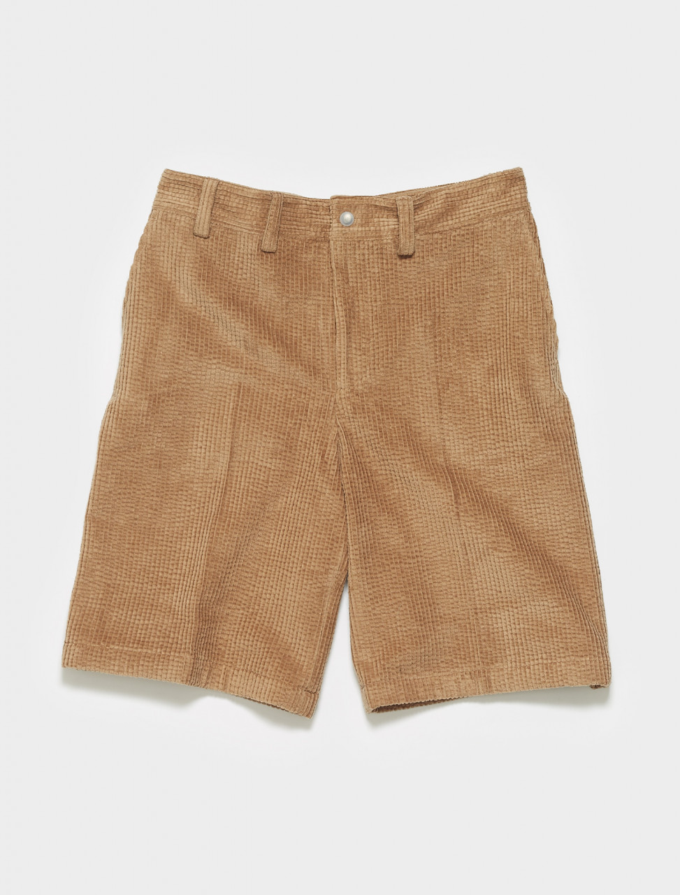 BE0055-640 ACNE STUDIOS ROSS CORD SHORTS IN CAMEL BROWN
