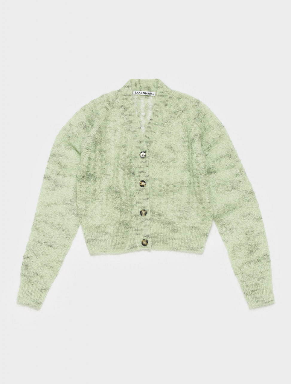 A60260-AB9 ACNE STUDIOS KONNA OPEN MOHAIR CROPPED CARDIGAN IN MINT GREEN