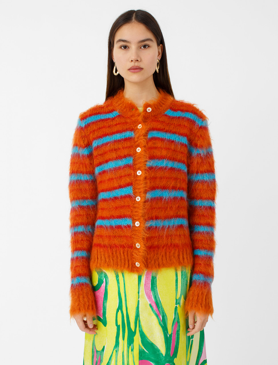 Long Sleeve Striped Mohair Cardigan