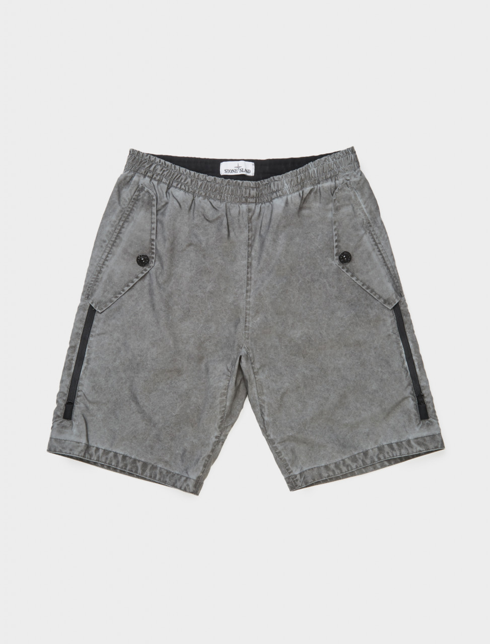 Front view of Stone Island Plated Reflective Shorts in Dark Grey
