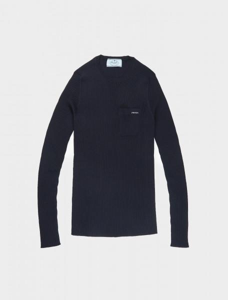 Prada Ribbed Long Sleeve Top in Blue
