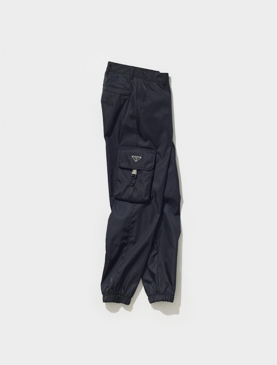 SPH130_1WQ8_F0002 PRADA RE NYLON CARGO PANTS IN BLACK