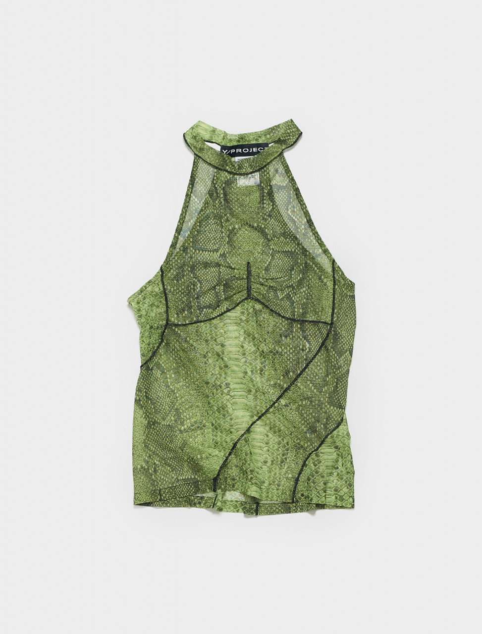 WTS42-S20 Y PROJECT MESH BIAS TANK TOP IN ELECTRIC GREEN PYTHON