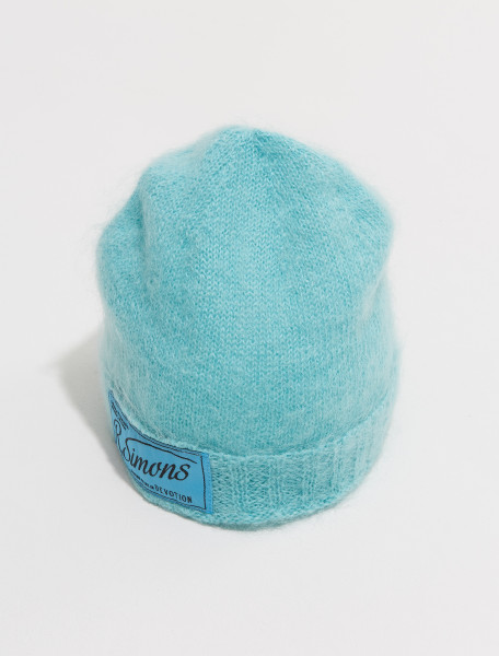 212 846 50001 0074 RAF SIMONS KNITTED BEANIE WITH WOVEN LABEL IN AQUA