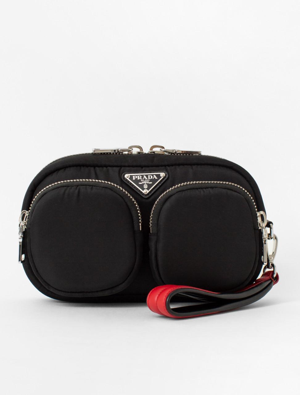 Leather Trimmed Nylon Wrist Bag
