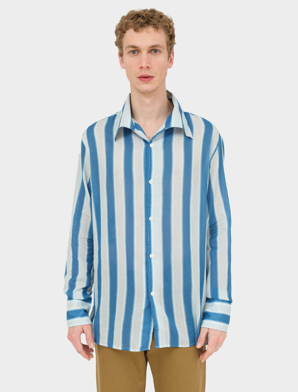 Front view of Our Legacy Soul Shirt in Blue Blur Stripe