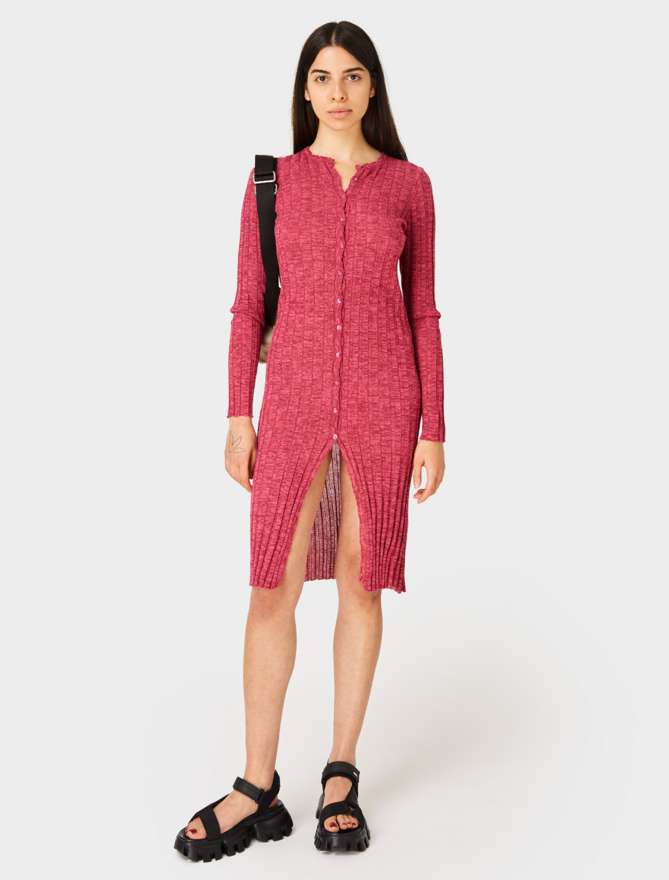 Front view of Paloma Wool Mayo Knitted Button Up Cardigan Dress in Dark Fuchsia