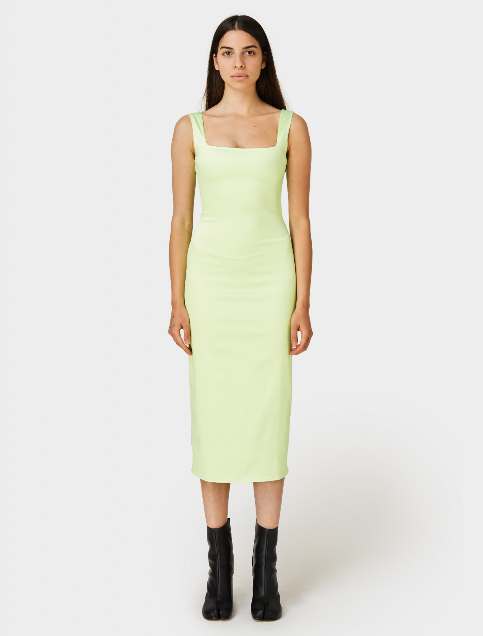 PRISCAvera Fitted Midi Dress in Neon Mint