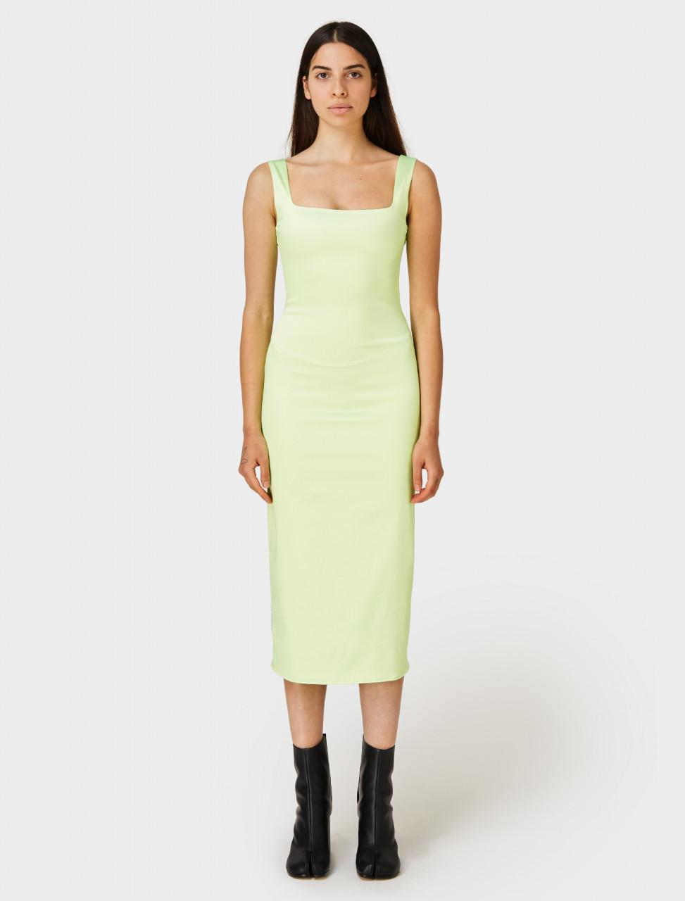 PRISCAvera Fitted Midi Dress in Neon Mint
